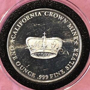 California Crown Mint Vintage Coin 1 Troy Oz .999 Fine Silver Round Medal Ingot