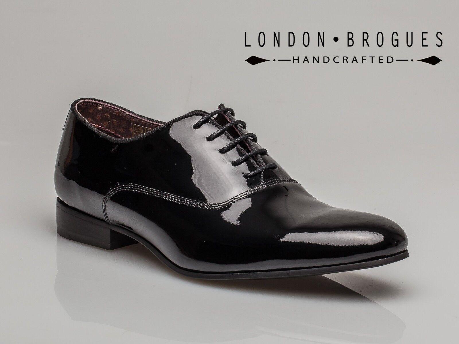 NEW London Baxter Scarpe Brogue Da Uomo Baxter London Nero Brevetto Scarpe Eleganti Formali in Pelle Smart UK8 e63723