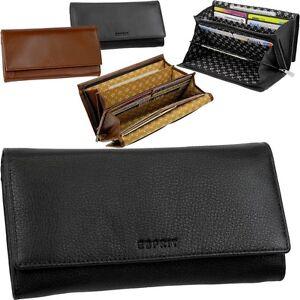 ESPRIT-Damen-Geldboerse-18-Kartenfaecher-Portemonnaie-Geldbeutel-Leder-Brieftasche