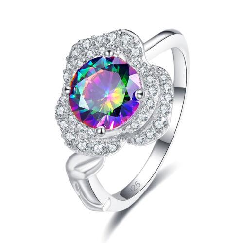 Cluster Jewelry New Fashion Rainbow White Topaz Gemstone Silver Ring Size 6-12