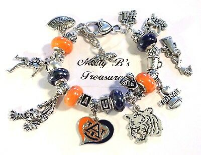 "College-ncaa Hospitable Auburn University Tigers Handmade Ncaa Football Charm Bracelet 7 3/4"" Adjust Top Watermelons"