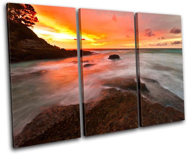Waves Orange Sunset Seascape TREBLE CANVAS WALL ART Picture Print VA