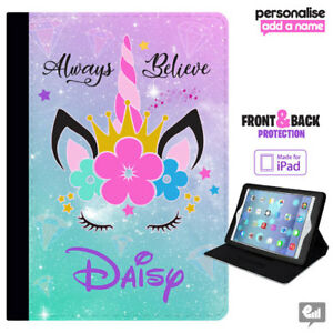 brand new 52c43 ba370 Details about Personalised iPad Case UNICORN Flip Cover Air Mini Pro Girls  Gift Cute Leather