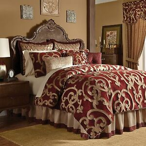 Luxury Burgundy Amp Gold Corsica Bedroom Comforter Set W