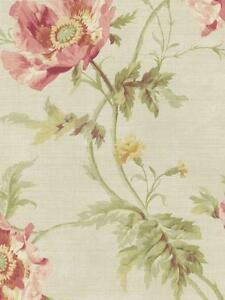 Wallpaper-Designer-Cottage-Floral-Poppy-Flowers-Pink-Green-on-Light-Beige