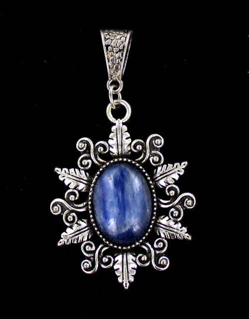 KYANITE GEMSTONE CABOCHON  PENDANT IN SILVER PLATED SETTING