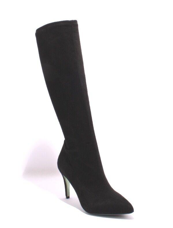 Nando Muzi 601 Black Stretch UltraSuede   Leather Knee-High Boots 36.5   US 6.5