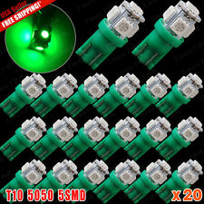 20 X NEW T10 168 194 Vivid Green 5050 5-SMD LED Wedge Map Interior License Light