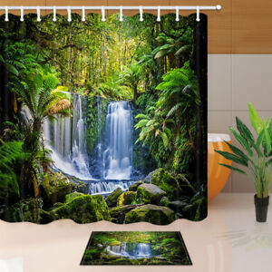 Image Is Loading Tropical Rainforest Waterfall Shower Curtain Bathroom Decor Fabric