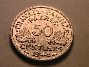 1944-FRANCE-50-Centimes-Vichy-WWII-Scarce-AU-BU-French-50C-Francais-Fifty-Cent