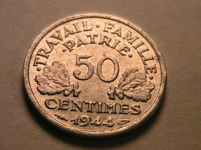 1944 FRANCE 50 Centimes Vichy WWII Scarce AU+/ BU French 50C Francais Fifty Cent