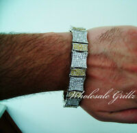 $399 Mens 8 14k White Gold Gp Yellow Canary Simulate Diamond Bracelet Pave