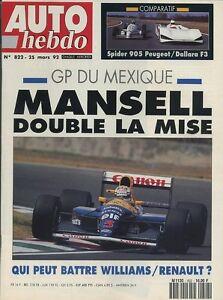 AUTO-HEBDO-n-822-du-25-Mars-1992-GP-MEXIQUE-BMW325i-ZX-VOLCANE-GOLF-GTI