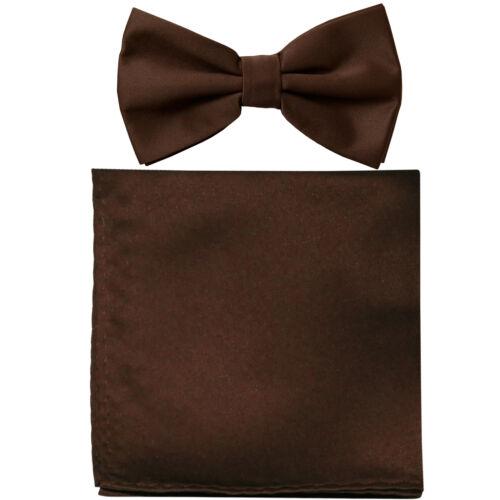 New formal men/'s pre tied Bow tie /& Pocket Square Hankie solid brown wedding