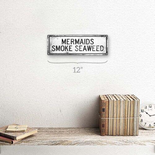 Retro Mermaids Smoke Seaweed Metal Sign; Wall Decor for Beach House