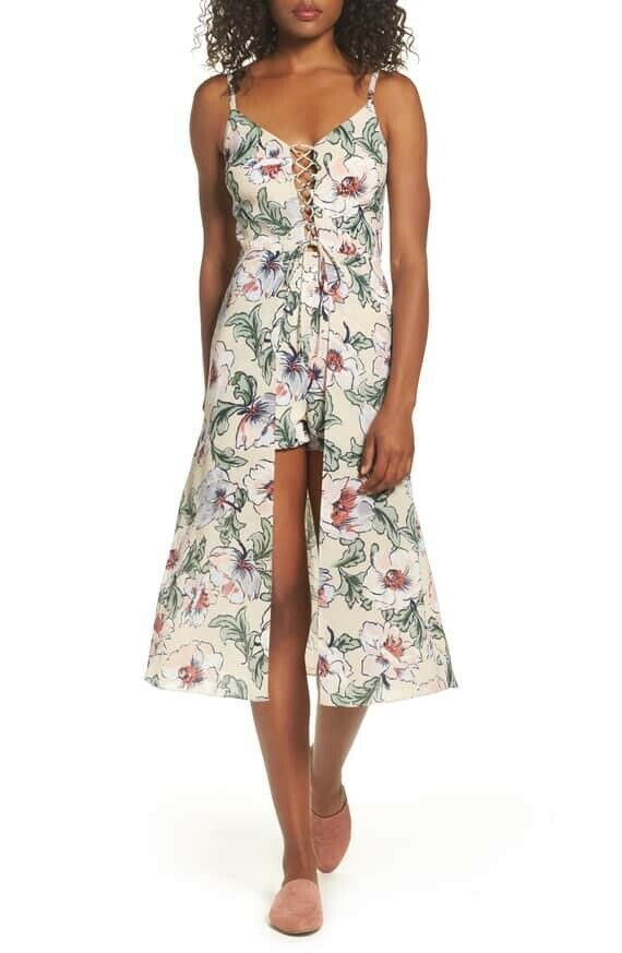 138 NWT ALI & JAY H-WOOD SIGN SELFIES FLORAL Lace-Up Overlay ROMPER PEACH Sz S
