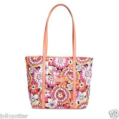 "VERA BRADLEY Small Trimmed ""Vera"" Tote PIXIE BLOOMS Bag Purse Shoulder $68 New!"