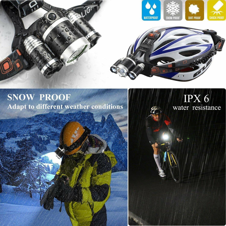 Waterproof 90000LM 3X T6 LED Headlamp Headlight Flashlight Head Torch 18650 Camp 10