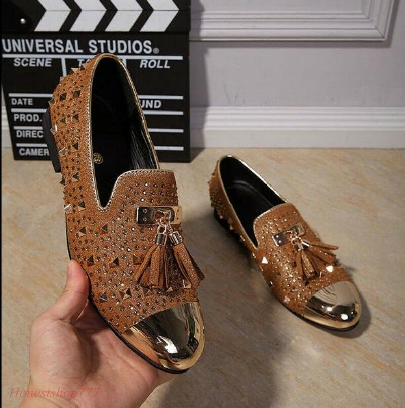 Scarpe casual da uomo  Korean uomo Tassel Vogue Loafers Rivet Spike Stud Metal Pointy Toe Leisure Oxford