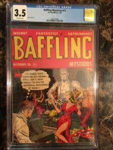 Baffling-Mysteries-11-CGC-3-5-OW-SCARCE-PRE-CODE-HORROR-GGA-HEADLIGHTS-COVER