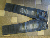 American Eagle Slim Straight Jeans Mens 32x34 Destroyed Medium Free Ship