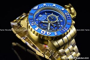 Invicta-Mens-70mm-Full-Sea-Hunter-III-Blue-Swiss-Movement-24k-Gold-Plated-Watch
