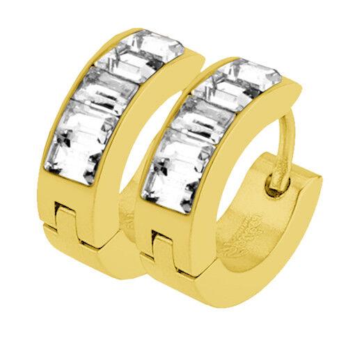 1 par de joyas aretes hoop klappcreolen con pedrería cristal inlay pendientes