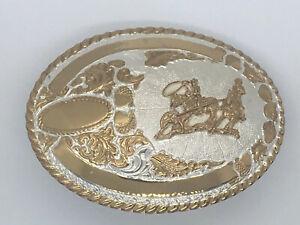 Vintage-Crumrine-Belt-Buckle-Team-Roper-Horse-Rider-Rodeo-Western-Cowboy