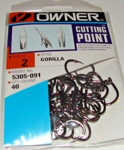 Owner Gorilla Cutting Point Live Bait 5305-091 40 Hooks per pack Size 2