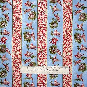 Calico-Fabric-Heaven-on-Earth-Bird-Stripe-Blue-Northcott-OOP-1-50Yd
