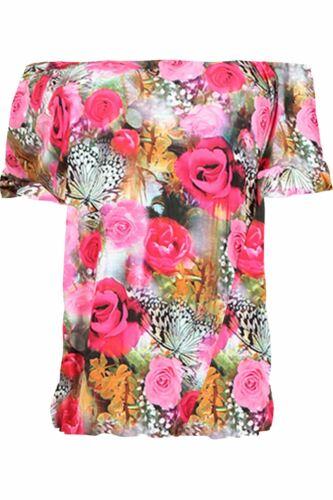 Plus Size Womens Ladies Off The Shoulder Bardot Frill Peplum Sleeve Dress Top