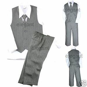 Baby Toddler Boy 4 PC Holiday Recital Formal Wedding Party Tuxedo Suit Gray S-20
