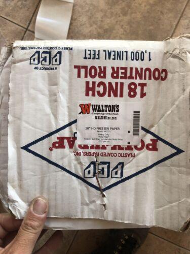 """12 Mo Rating Walton 18/"""" x 1000 Feet White Freezer Paper Roll Frozen Meat Wrap"""
