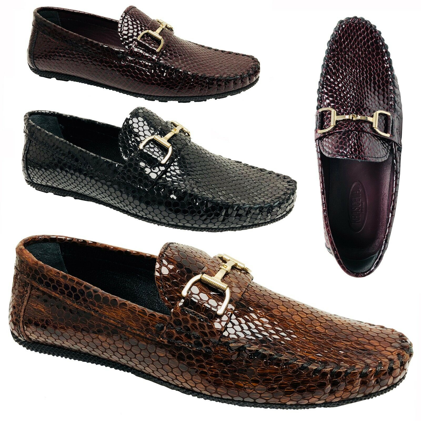 Mens Real Leather Loafers Driving Shoes Snake print Smart Horsebit Slip On Size