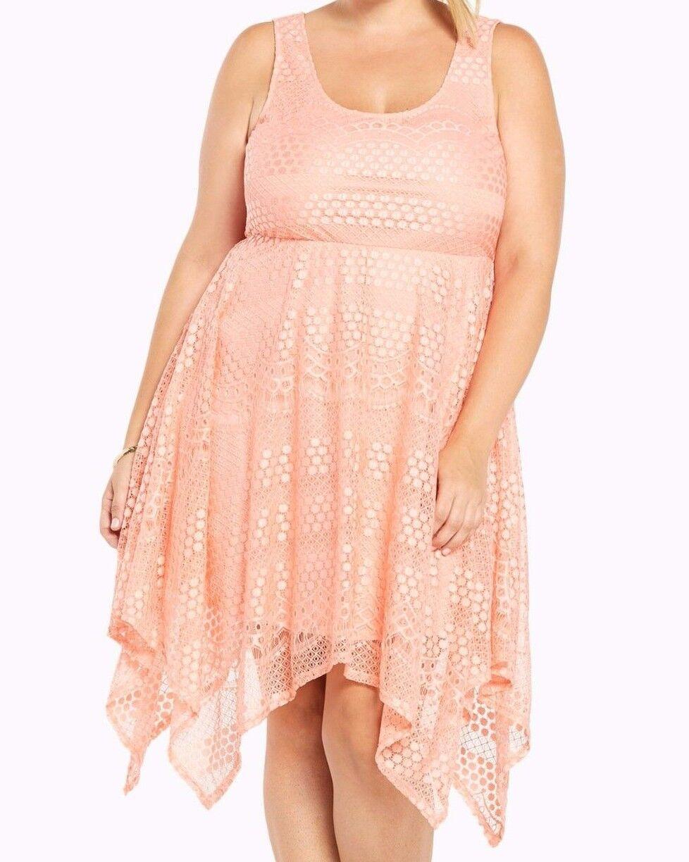 Torrid bluesh Pink All Over Lace Hanky Midi Dress 00 Med Large 10