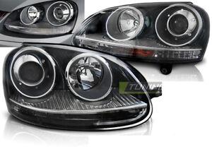 Coppia-di-Fari-Anteriori-per-VW-GOLF-5-V-2003-2009-Stile-GTI-Look-Neri-IT-LPVW20