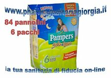 84 PANNOLINI PAMPERS SOLE E LUNA TG.6 EXTRALARGE(15-30KG) 6 PACCHI 14 PZ/CAD.