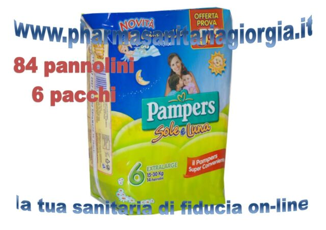 84 DIAPERS PAMPERS SUN AND MOON TG.6 EXTRALARGE(15-30KG) 6 PACKS 14 PCS/CAD