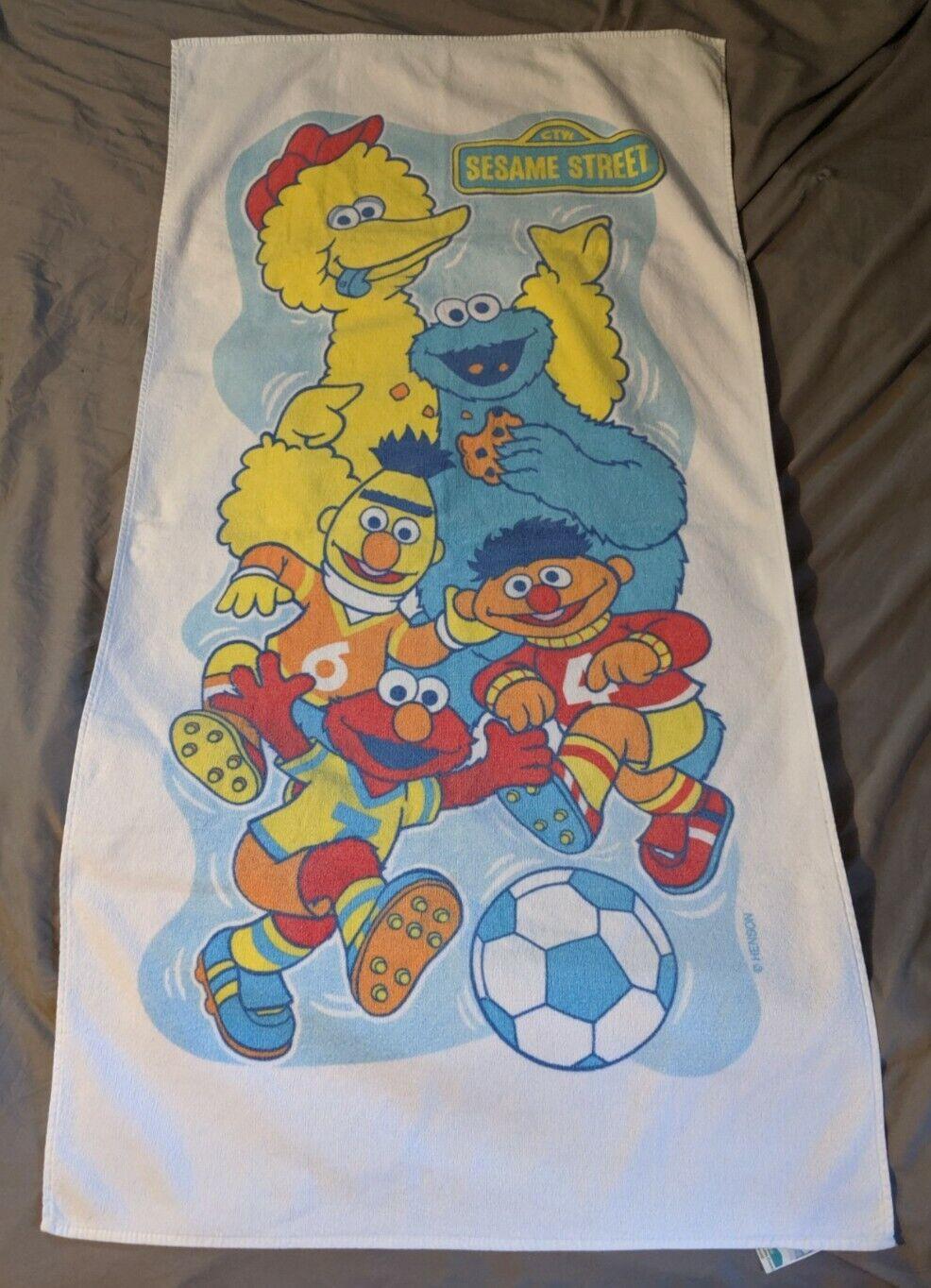 Franco 100% Cotton Sesame Street Bath Towel Soccer Design Vintage