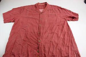 Tommy-Bahama-100-Silk-Reddish-Stitched-Pocket-CAMP-SHIRT-XL-Extra-Large