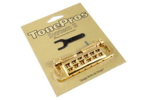TonePros Gold AVT2G Locking Wraparound Bridge for Gibson® Guitar GB-2578-002