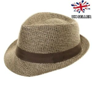 New Mens Straw Style Trilby Fedora Pork Pie Sun Summer Festival Hat
