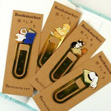 4pcs Metal bookmarks cat bookmark clip Stationery Office accessories hand made
