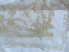 2 Vintage ANTIQUE Victorian Cream Ivory TAMBOUR Net LACE CURTAINS Embroidered