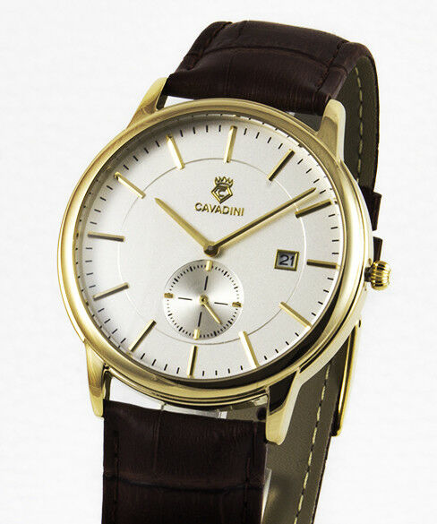 Classic Cavadini Gold Plated Mens Watch Stainless Steel, Petite Seconde, Model