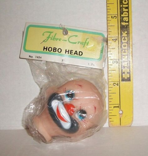 FIBRECRAFT FIBRE CRAFT DOLL HEAD NEW IN PACKAGE VINTAGE 3 INCH HOBO HEAD #7484