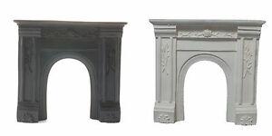 Noir Ou Blanc Résine Fire Surround. Maison De Poupées Miniature, échelle 1.12 Cheminée-afficher Le Titre D'origine