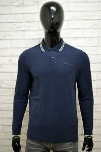 Polo-Uomo-LOTTO-Taglia-L-S-Maglia-Manica-Lunga-Maglietta-Cotone-Shirt-Blu-Man