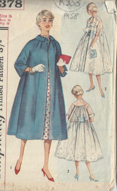 Vintage 1950s Sewing Pattern simplicity 2378 Misses\' Swing Coat ...
