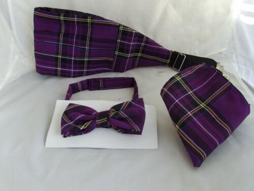 Cummerbund and Hanky Set/>P/&P 2UK/>1st Class /<DD/>Tartan-Purple Polyester Bow Tie